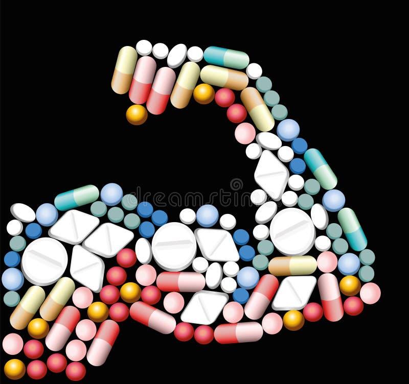 Píldoras anabólicas del bíceps de las drogas stock de ilustración