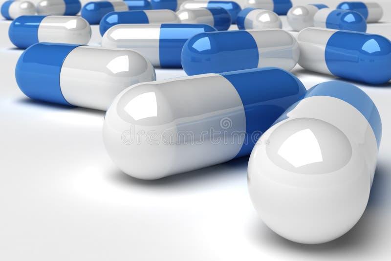Píldoras azules stock de ilustración