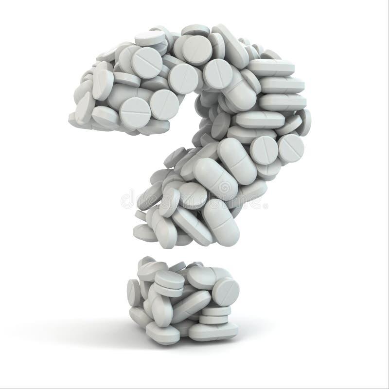 Píldoras como pregunta. Concepto médico. 3d libre illustration