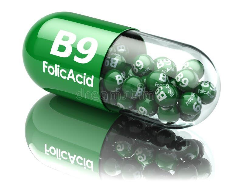 Píldoras con el elemento del ácido fólico b9 Suplementos dietéticos Vitamina C ilustración del vector