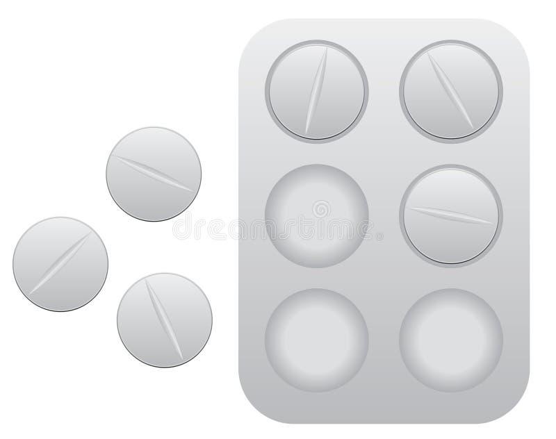Píldoras con el paquete de ampolla ilustración del vector