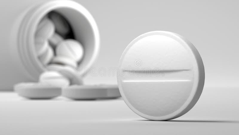 Píldoras con la caja de la medicina libre illustration