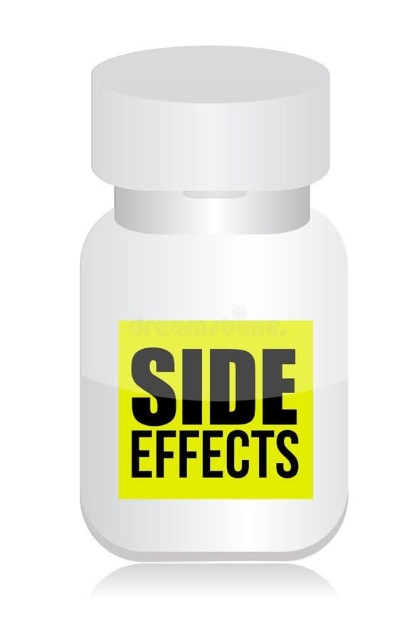 Píldoras con la muestra de los efectos secundarios ilustración del vector