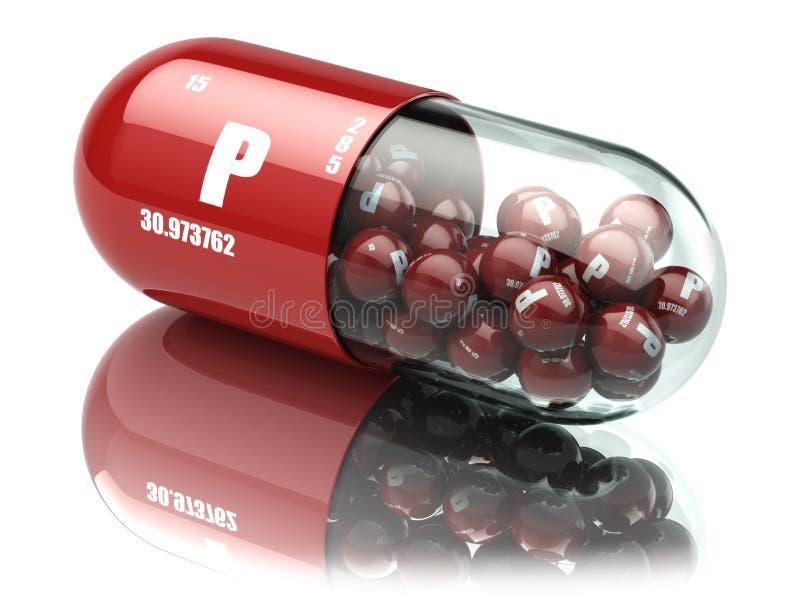 Píldoras con suplementos dietéticos del elemento del fósforo P Casquillo de la vitamina ilustración del vector