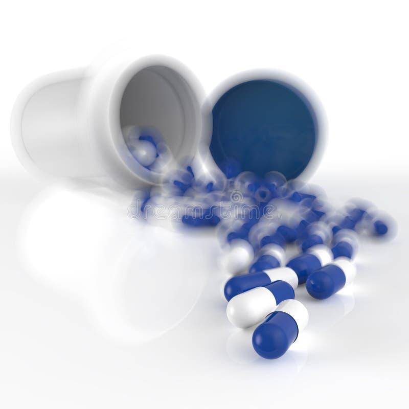 Píldoras 3d que se derraman fuera de la botella de píldora ilustración del vector
