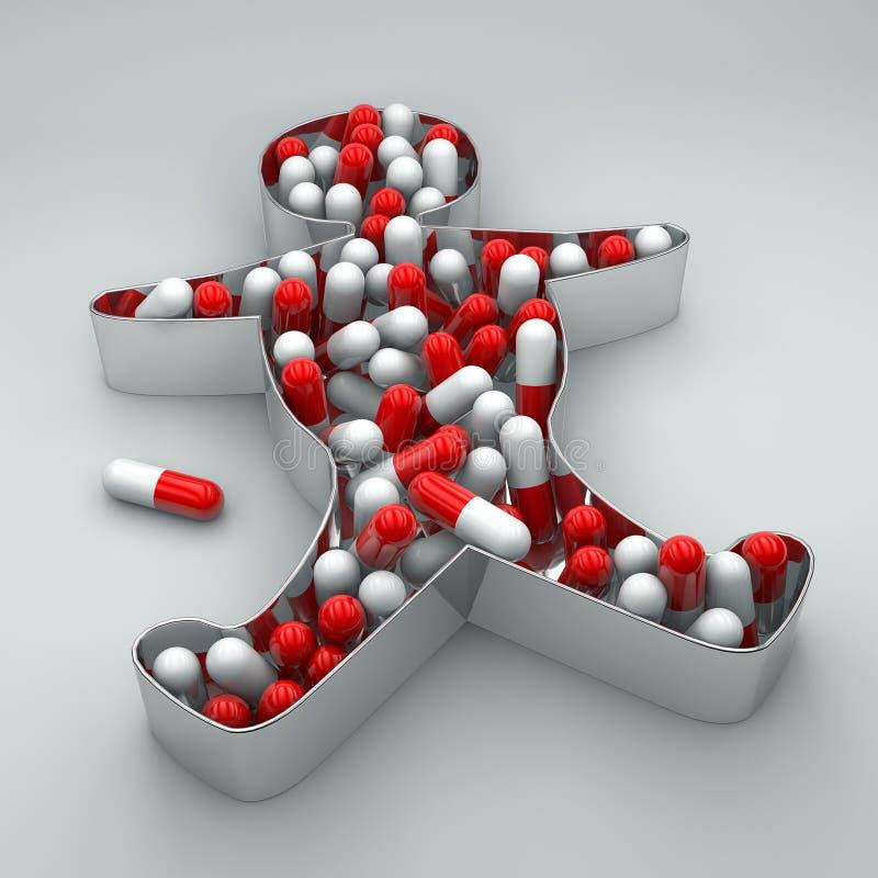 Píldoras de la medicación del insomnio de la depresión de la silueta de la persona libre illustration