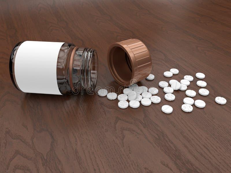 Píldoras de la medicación derramadas hacia fuera stock de ilustración