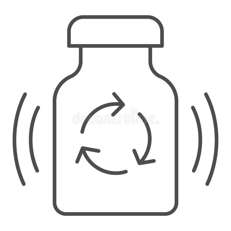 Píldoras de la medicina que reciclan la línea fina icono Recicle el ejemplo del vector de las drogas aislado en blanco Reciclaj libre illustration