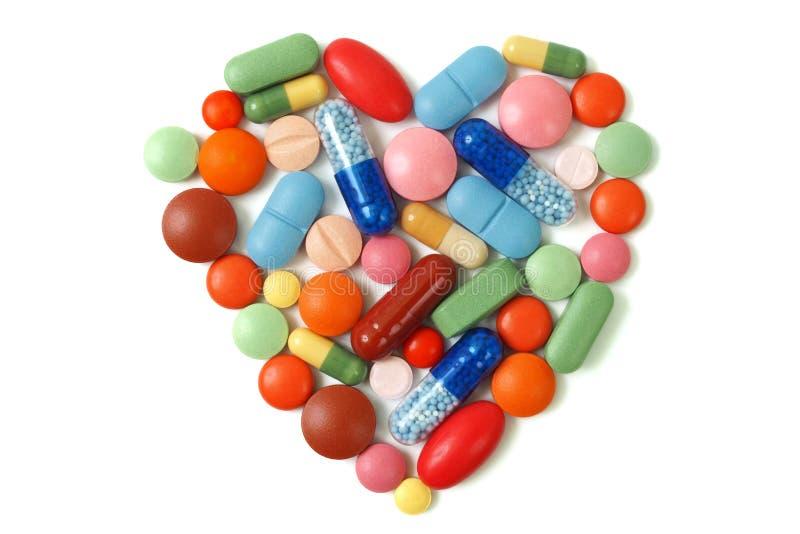 Píldoras del corazón foto de archivo libre de regalías