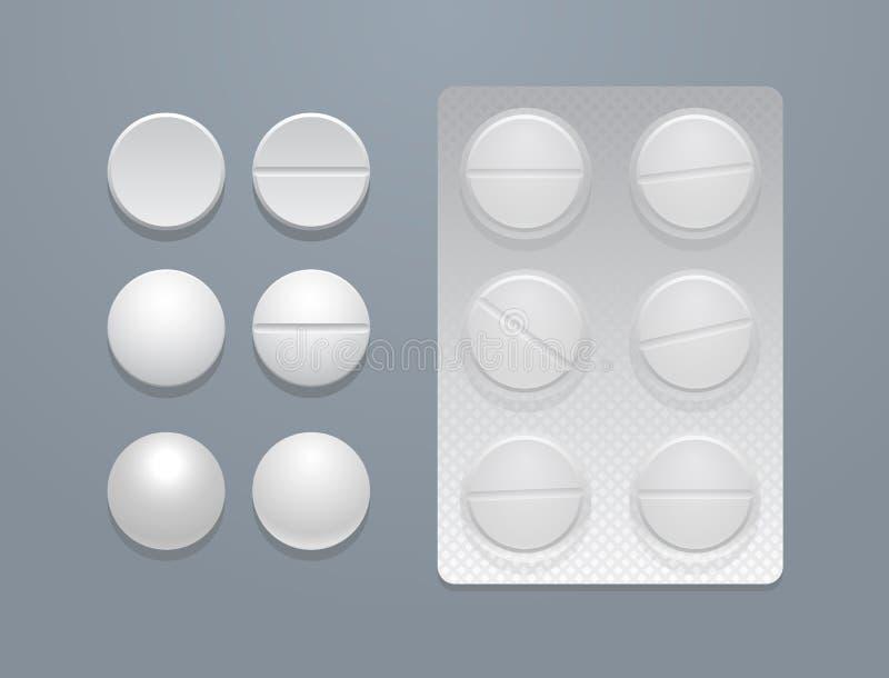 Píldoras del vector y paquete de ampolla redondos blancos libre illustration