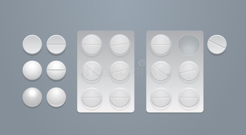 Píldoras del vector y paquetes de ampolla redondos libre illustration