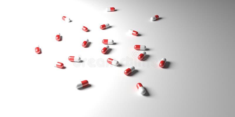 Píldoras dispersadas bajo luz blanca foto de archivo