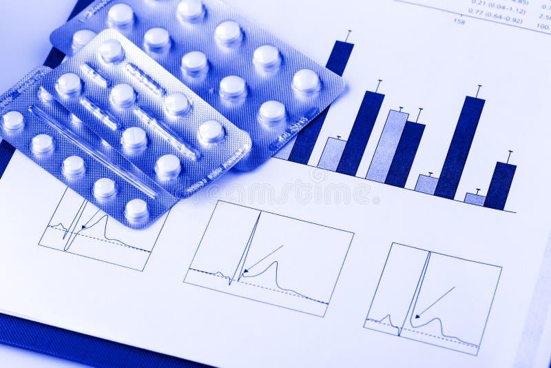 Píldoras en ampollas y gráficos médicos foto de archivo