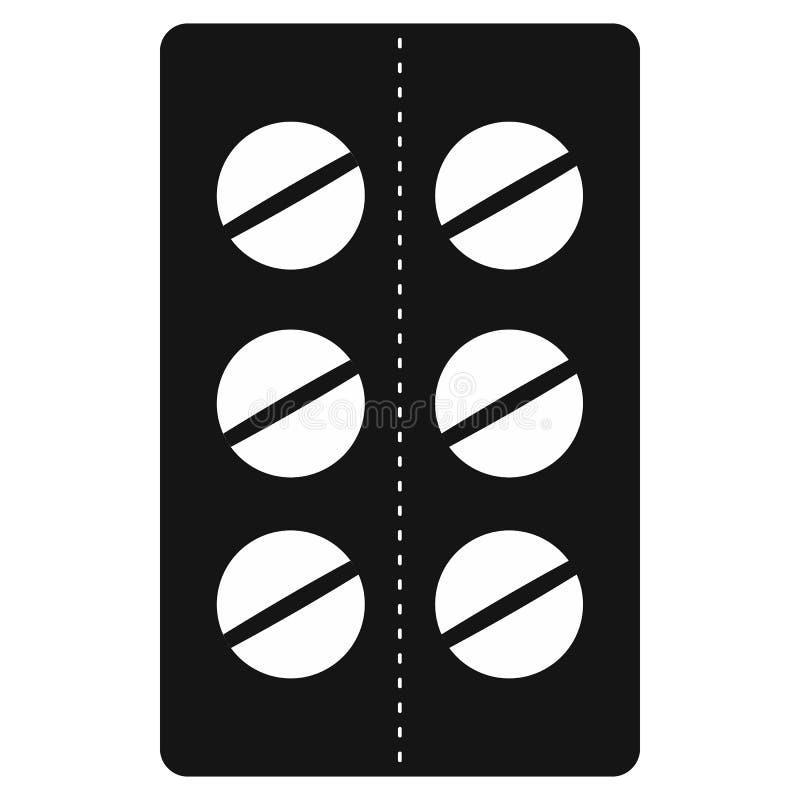 Píldoras en el icono del paquete de ampolla, estilo simple negro stock de ilustración