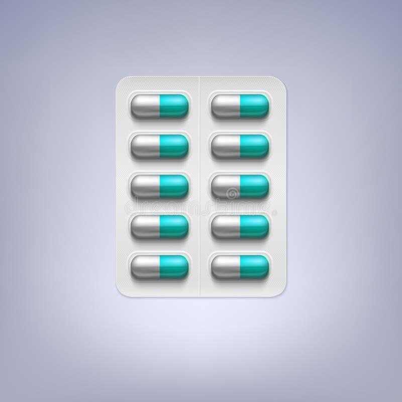Píldoras en un paquete de ampolla ilustración del vector