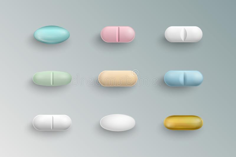 Píldoras médicas coloridas realistas, tabletas, cápsulas stock de ilustración