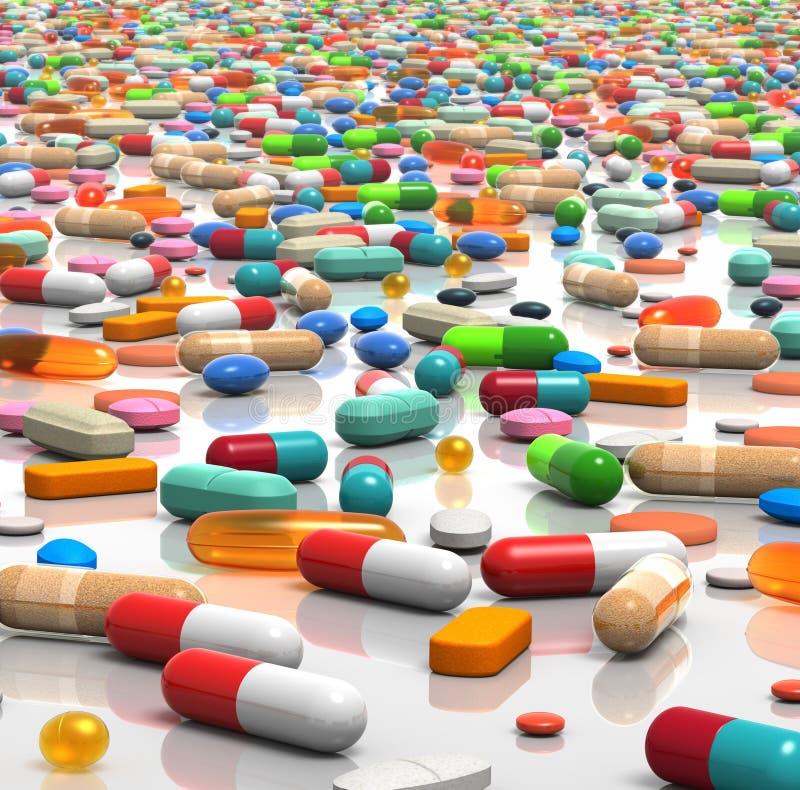 Píldoras a montones ilustración del vector