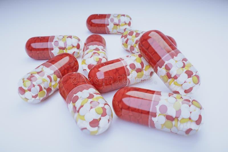 Píldoras multicoloras grandes stock de ilustración