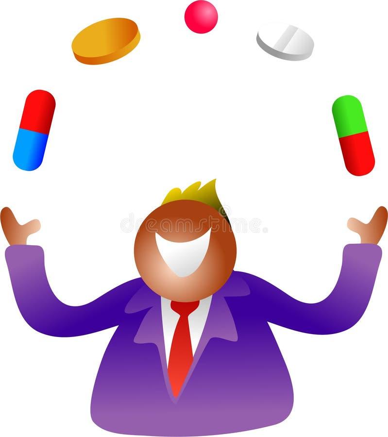 Píldoras que hacen juegos malabares ilustración del vector