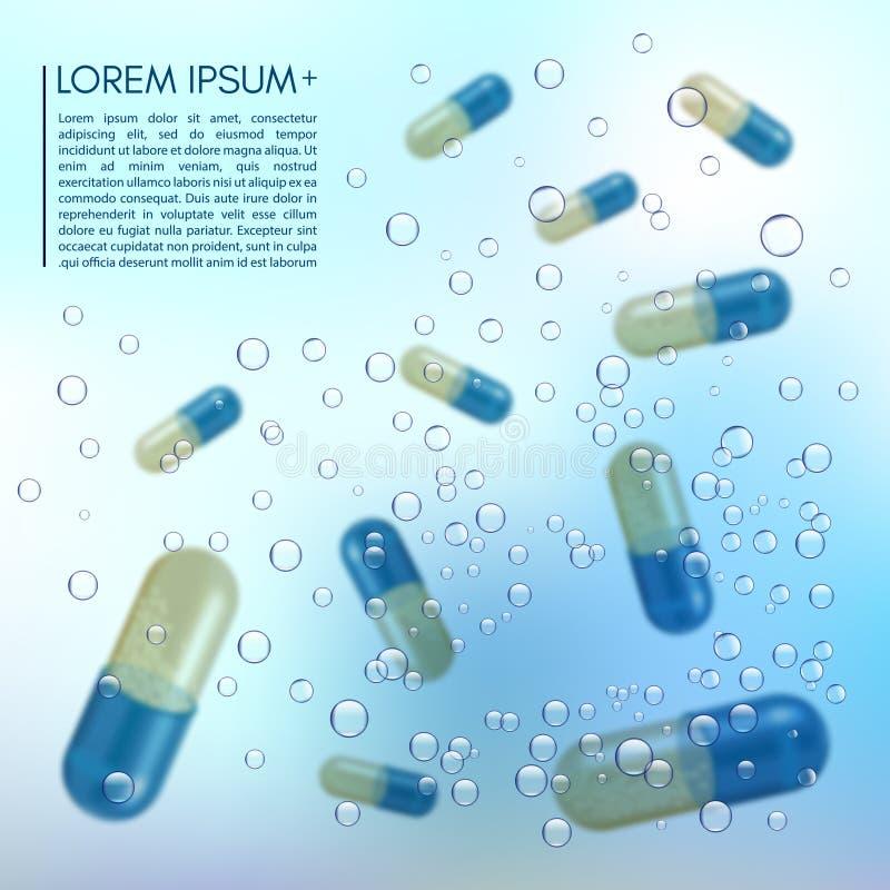 Píldoras realistas 3d en el agua con las burbujas Farmacia, antibiótico, vitaminas, tableta, cápsula medicina Vector ilustración del vector