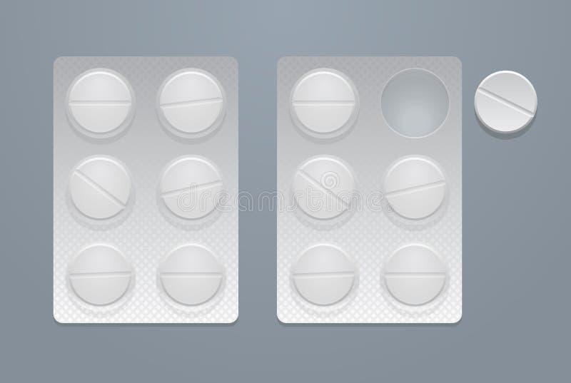 Píldoras redondas del vector en dos paquetes de ampolla stock de ilustración