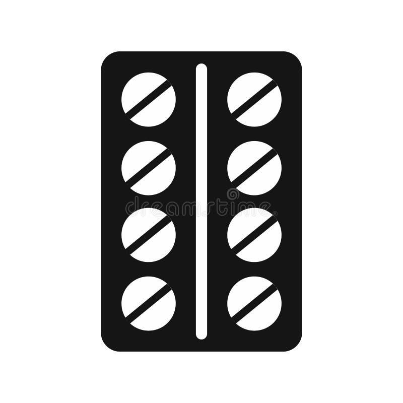Píldoras redondas en un icono del paquete de ampolla, estilo simple libre illustration