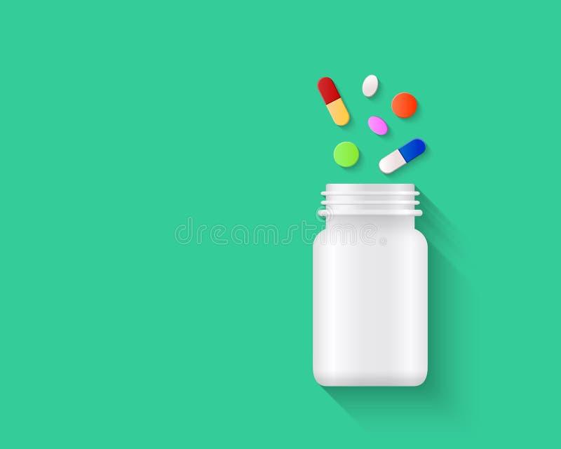 Píldoras, tabletas coloridas y cápsulas derramándose fuera de la botella de píldora blanca en blanco en fondo verde libre illustration