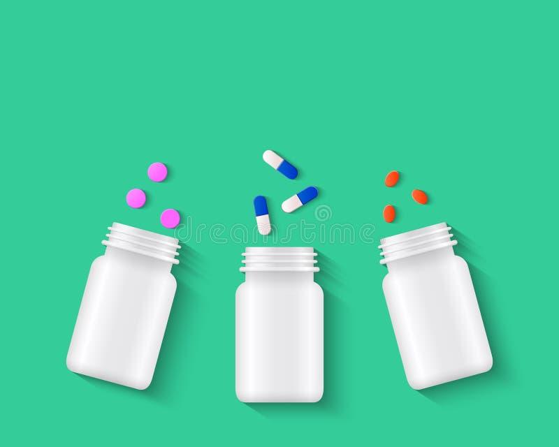 Píldoras, tabletas y cápsulas con las botellas de píldora blancas ilustración del vector