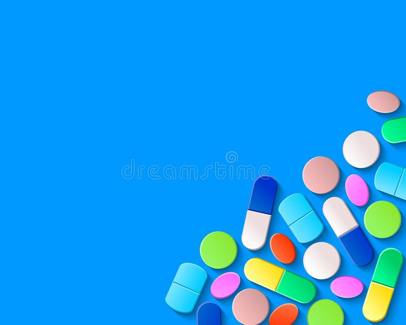 Píldoras, tabletas y cápsulas en la esquina inferior derecha en un fondo azul libre illustration