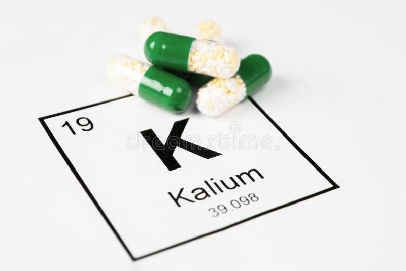 Píldoras verdes con K mineral Kalium en un fondo blanco con a fotografía de archivo
