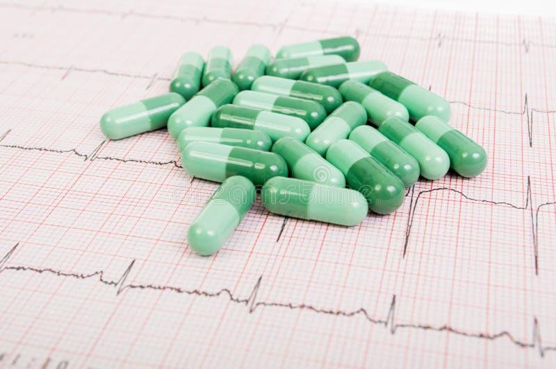 Píldoras verdes en ECG imagen de archivo