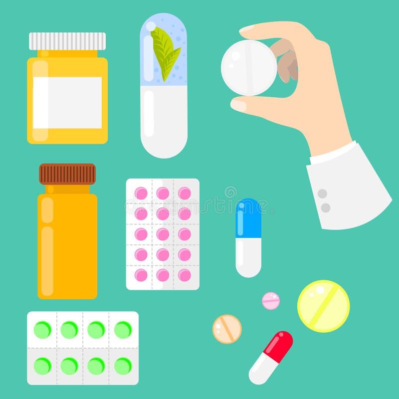 Píldoras, vitaminas y cápsulas de la droga en estilo plano ilustración del vector