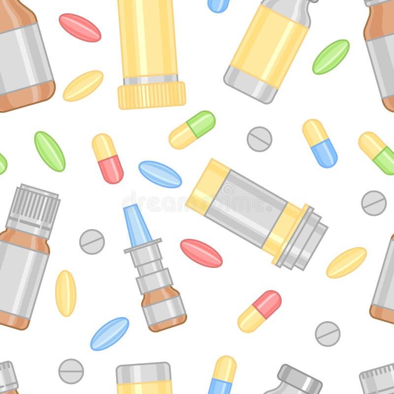 Píldoras y modelo coloreados de las drogas stock de ilustración