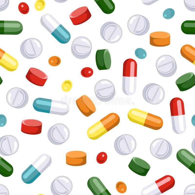 Píldoras y modelo inconsútil de las cápsulas en el fondo blanco Ejemplo del vector de drogas farmacológicas médicas stock de ilustración