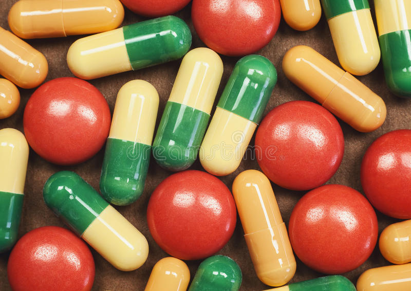 Píldoras y tabletas macras imágenes de archivo libres de regalías