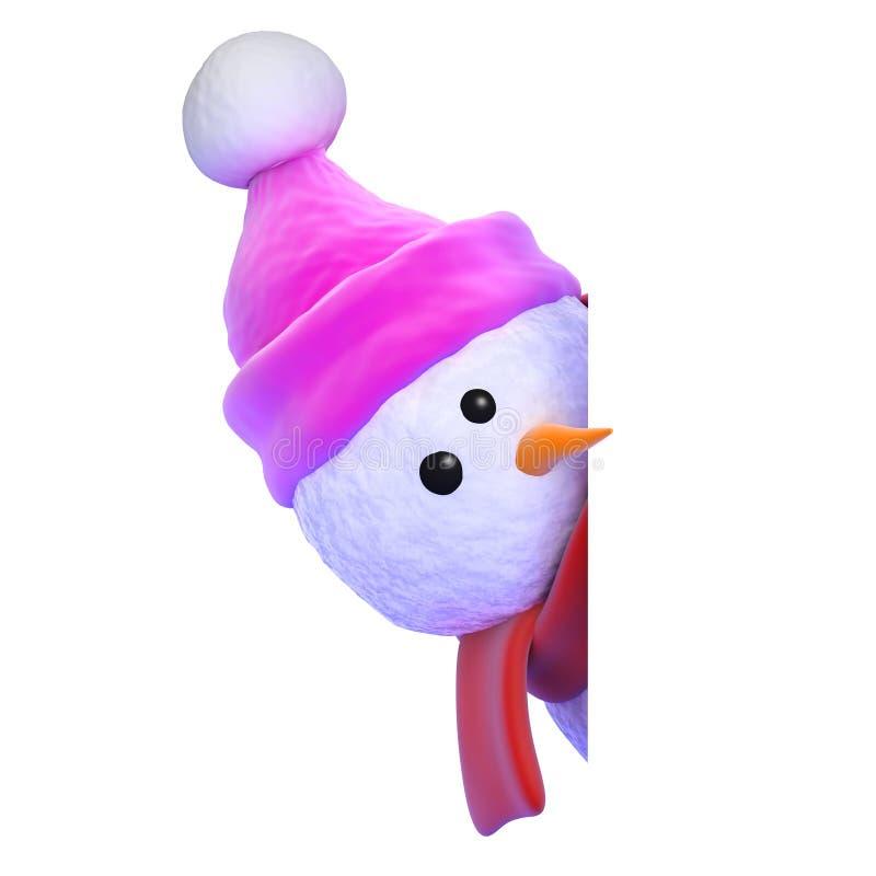 píos del muñeco de nieve 3d a la vuelta de la esquina ilustración del vector