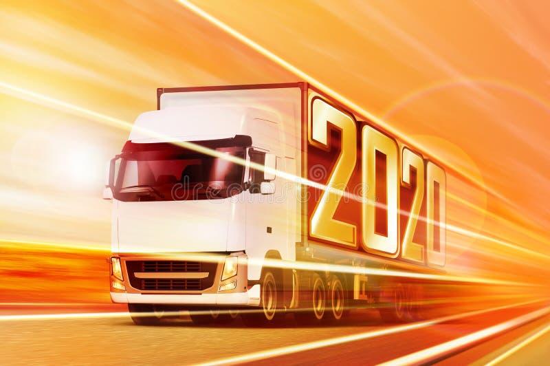 Półciężarówka jak przychodzący rok 2020 zdjęcie stock