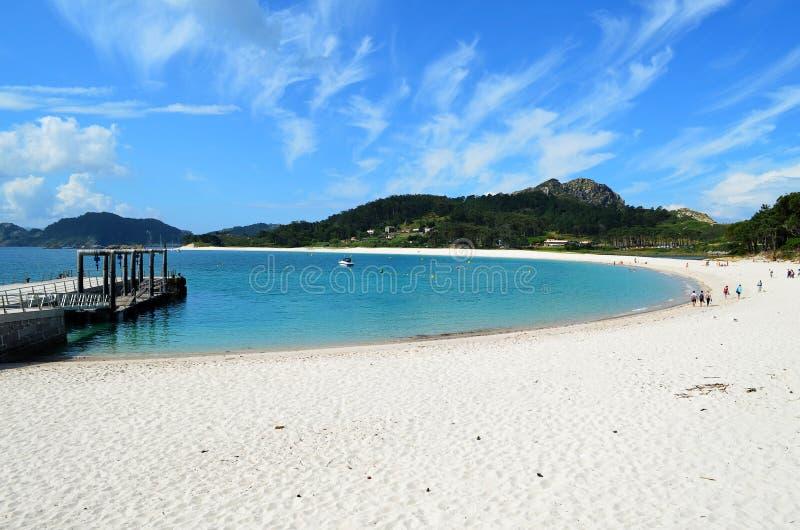 Półcyrkłowa plaża (Islas Cies) fotografia stock