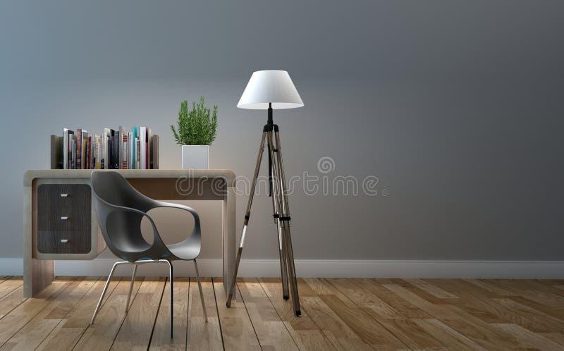 Półka na książki na żywym pokoju pustym ?wiadczenia 3 d ilustracji