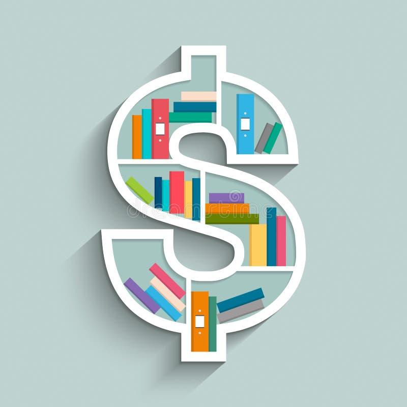Półka na książki w formie dolarowy znak z kolorowymi książkami royalty ilustracja
