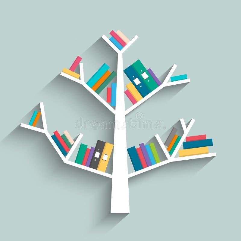 Półka na książki w formie drzewo z kolorowymi książkami royalty ilustracja