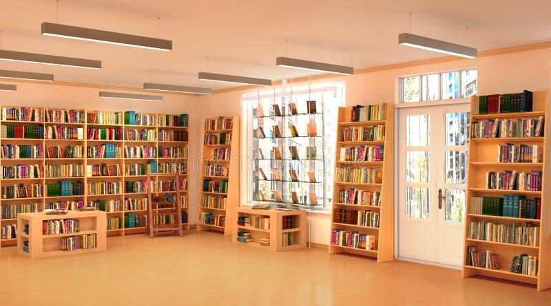 Półka na książki w książkowym sklepie ilustracja 3 d royalty ilustracja