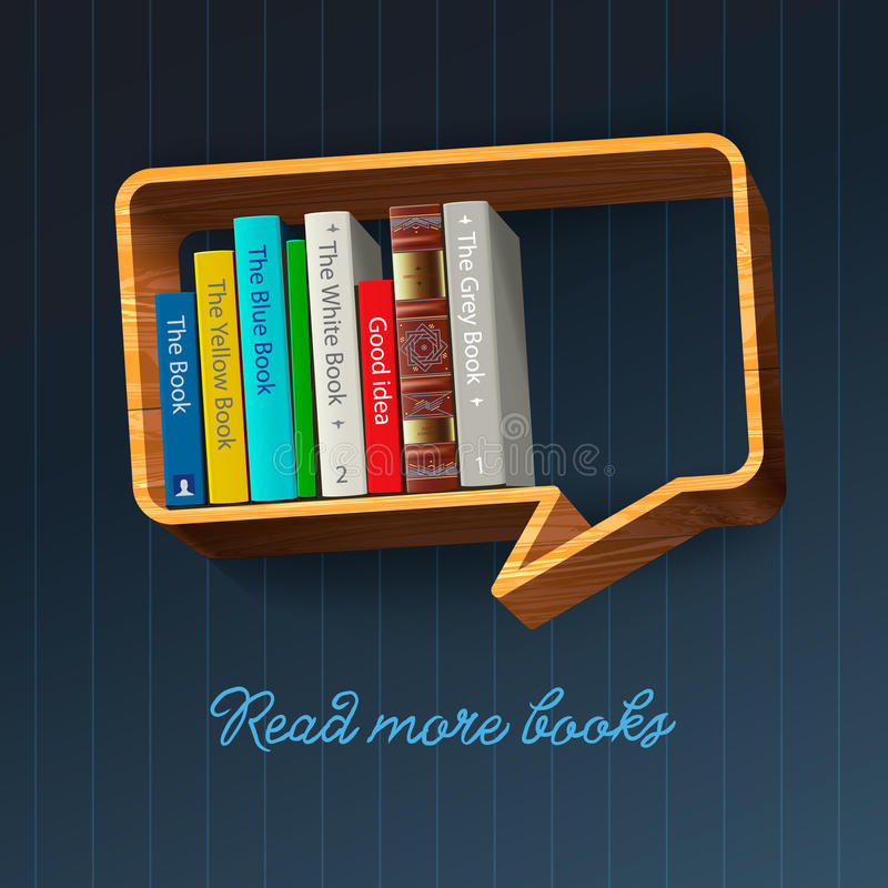 Półka na książki w postaci mowa bąbla ilustracja wektor