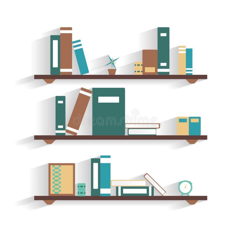 Półka na książki z książkami ilustracji