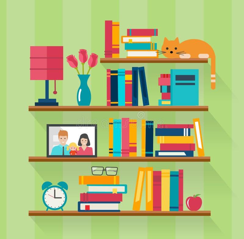 Półka na książki z książkami w izbowym wnętrzu royalty ilustracja
