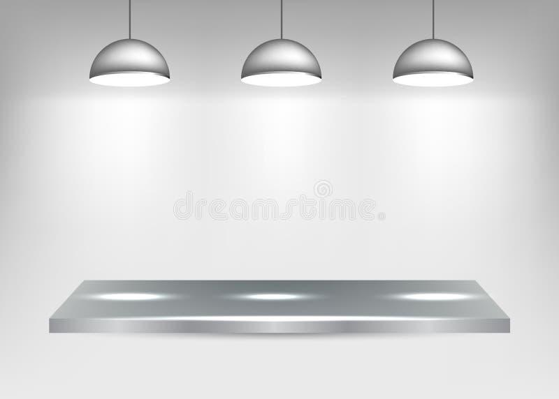 Półka z światłami ilustracja wektor