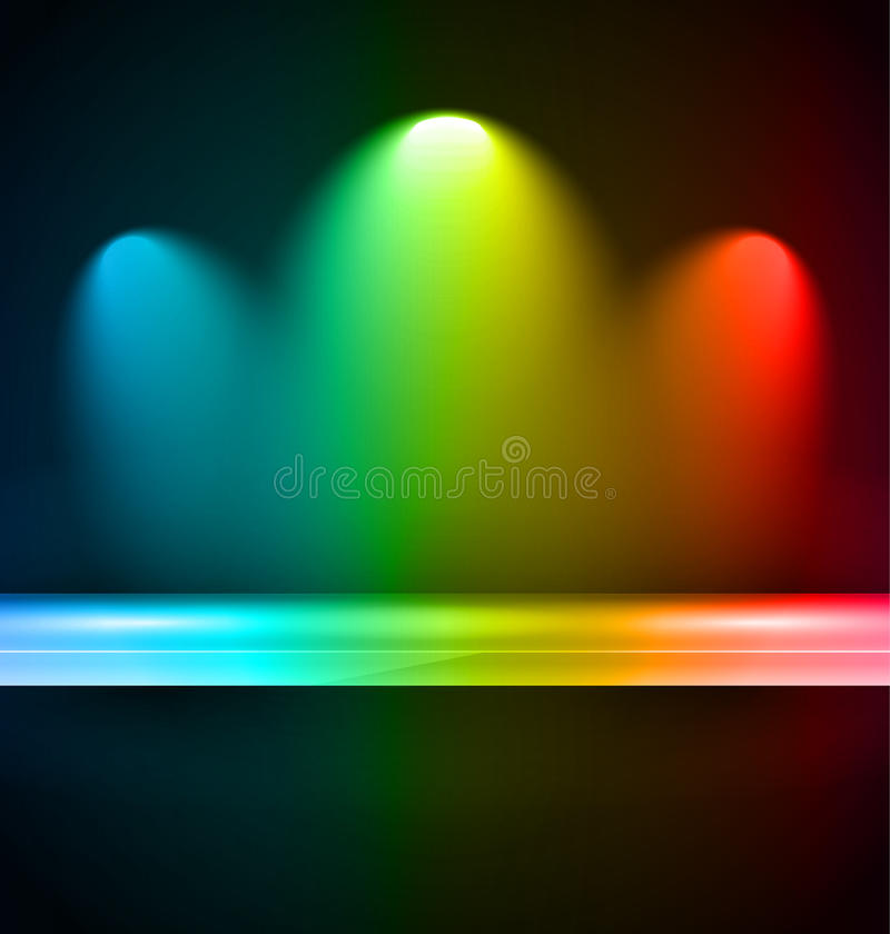 Półka z światłami reflektorów ilustracji