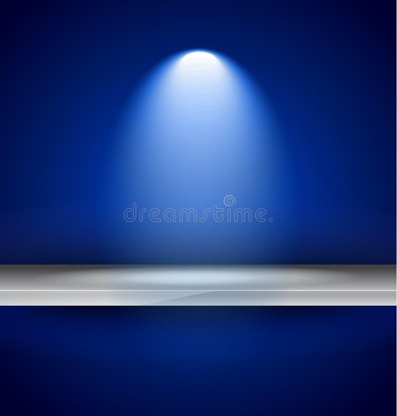 Półka z światłami reflektorów używać dla produkt reklamy royalty ilustracja
