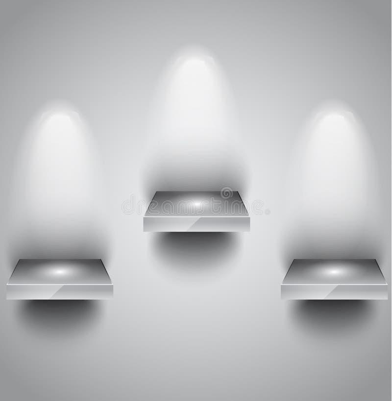 Półka z światło reflektorów używać dla produktów ilustracja wektor