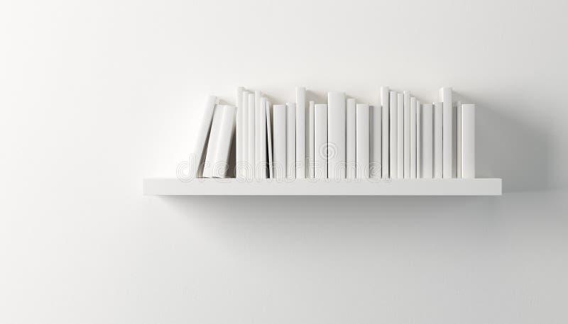 Półka z białymi książkami ilustracji